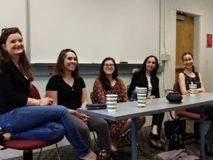 CIMS Panel for Industrial Careers in Mathematics - 2019.  From left to right:  Laura Antul (MITRE), Alana Aubin (Everquote), Katie Nahabedian (Lincoln Labs), Divya Moorjaney (LogMeIn), Kaitlyn Brady (BJ Wholesales Club).