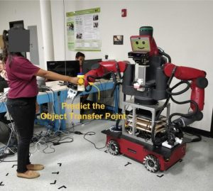 The robot tries to predict a natural position (object transfer point, OTP) for receiving the object from a human.